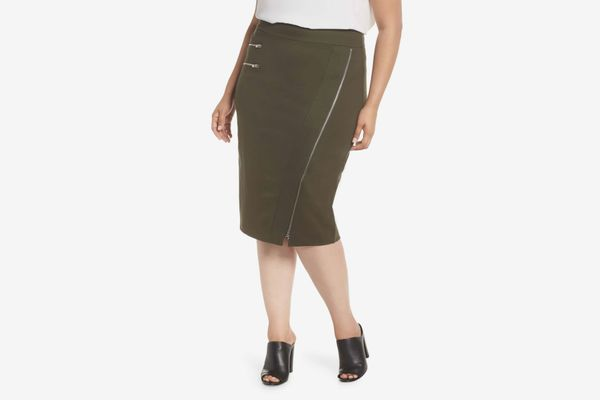 Sejour Zipper Detail Ponte Pencil Skirt