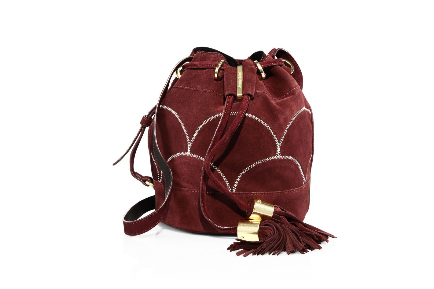 See by Chloé Vicki Patchwork Suede Small Bucket Bag