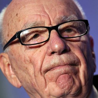 SAN FRANCISCO, CA - OCTOBER 14: News Corp. CEO Rupert Murdoch pauses as he delivers a keynote address at the National Summit on Education Reform on October 14, 2011 in San Francisco, California. Rupert Murdoch was the keynote speaker at the two-day National Summit on Education Reform. (Photo by Justin Sullivan/Getty Images)