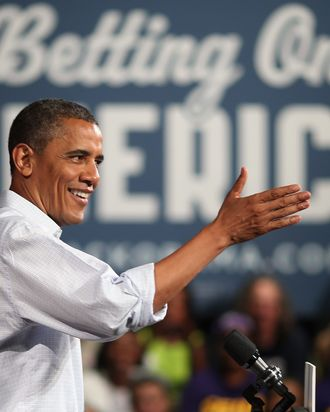 POLAND, OH - JULY 06: U.S. President Barack Obama speaks at a campaign event at Dobbins Elementary School July 5, 2012 in Poland, Ohio. This is the second day of Obama's ''Betting On America'' campaign through Northern Ohio and Western Pennsylvania by bus. The president highlighted his administration?s efforts to improve the economy by creating manufacturing jobs and rescuing the American auto industry and also taking swings at the presumptive Republican presidential nominee, former Governor of Massachusetts Mitt Romney. (Photo by Chip Somodevilla/Getty Images)