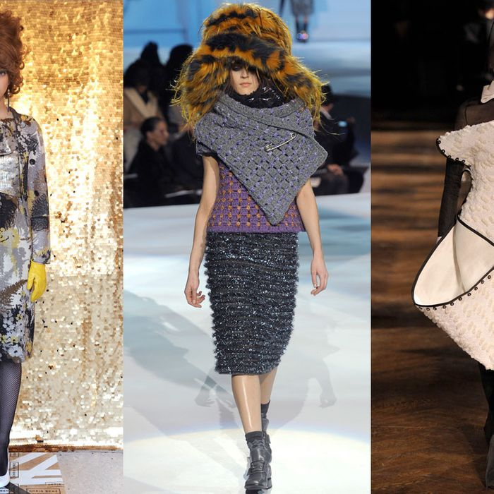 Looks from Chris Benz. Marc Jacobs, and Thom Browne.