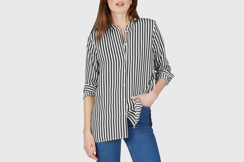 Everlane Relaxed Silk Collarless Shirt