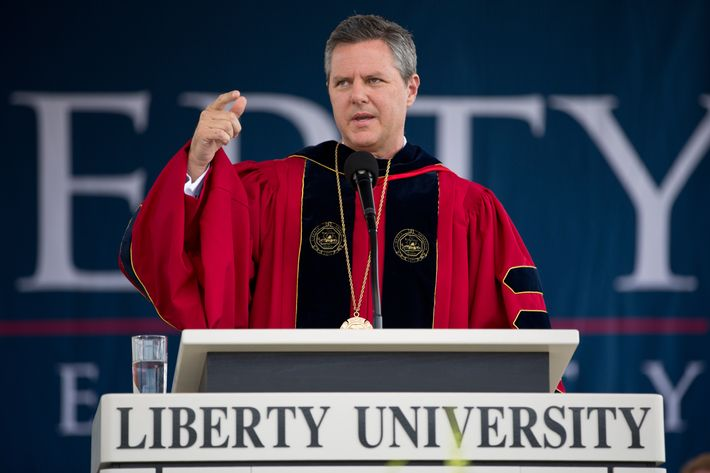 President of Liberty University, Jerry Falwell Jr. speaks during a commencement ceremony at Liberty University in Lynchburg, Virginia May 12, 2012.