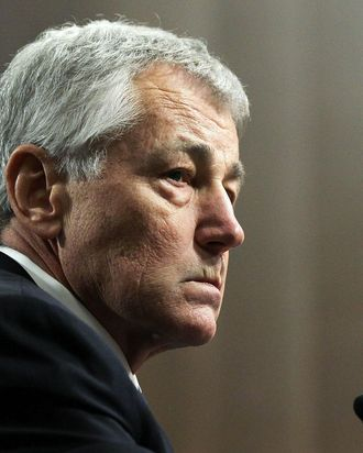 WASHINGTON, DC - JANUARY 31: Former U.S. Sen. Chuck Hagel (R-NE) testifies before the Senate Armed Services Committee during his confirmation hearing to become the next secretary of defense on Capitol Hill January 31, 2013 in Washington, DC. President Barack Obama nominated Hagel, a controversial choice as Hagel opposed former President George W. Bush and his own party on the Iraq War and upset liberals with his criticism of a gay ambassador, for which he later apologized. (Photo by Alex Wong/Getty Images)
