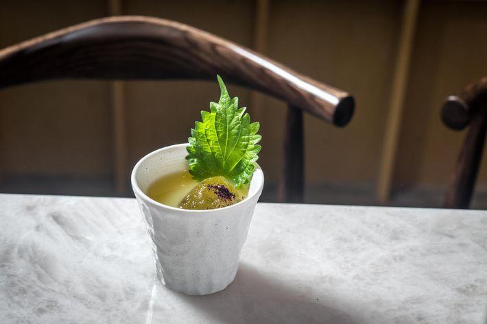 Yuzu cocktail with shochu mizu no mai, shisho yuzu honey, and yukari salt.