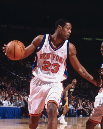Forward Marcus Camby #23 of the New York Knicks looks to move the ball against the Indiana Pacers during the NBA game at Madison Square Garden in New York, New York. The Knicks defeated the Pacers 101-99.