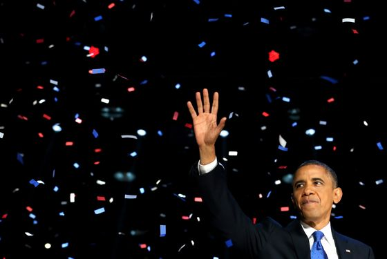 CHICAGO, IL - NOVEMBER 06:  U.S. President Barack Obama waves to supporters after his victory speech at McCormick Place on election night November 6, 2012 in Chicago, Illinois. Obama won reelection against Republican candidate, former Massachusetts Governor Mitt Romney.  (Photo by Chip Somodevilla/Getty Images)