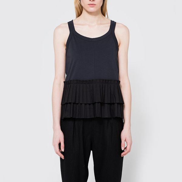 Marni Crew Neck T-Shirt in Blublack- strategist best black sleeveless top with frilled bottom