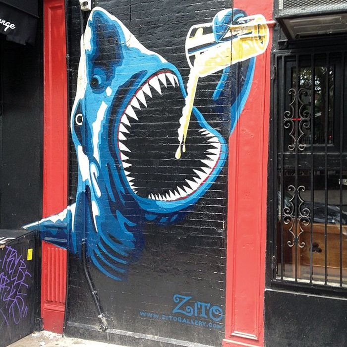 A mural outside Spring Lounge in Nolita, one of the city's best dive bars.