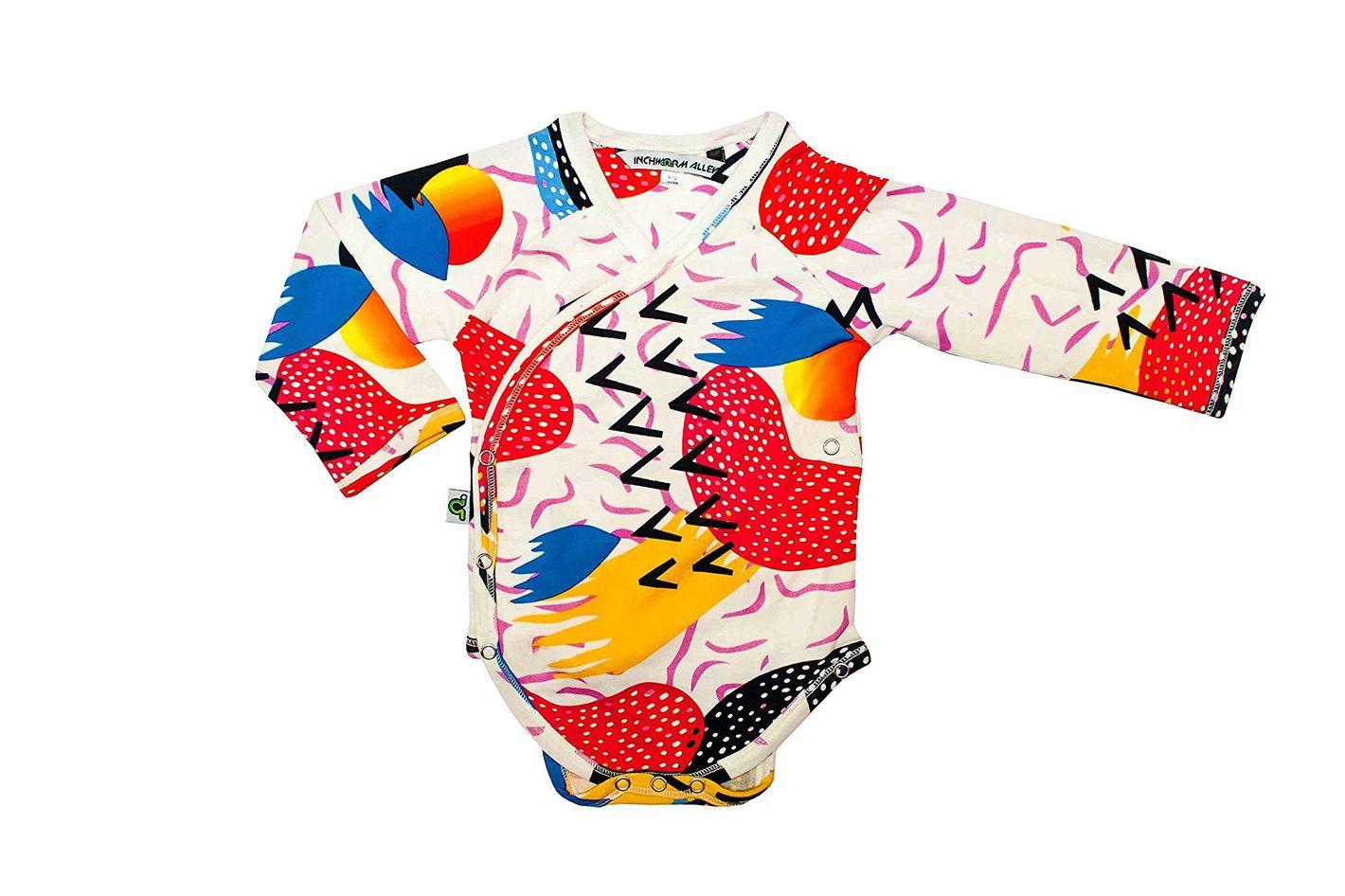 "Inchworm Alley — ""Memphis Milano Heads"" Unisex, 100% Organic Cotton Bodysuit Onesie"