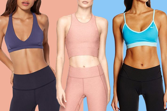 collage of nike pro indy bra, lululemon raise the barre bra, and outdoor voices slashback crop - strategist best fitness gear and best sports bras