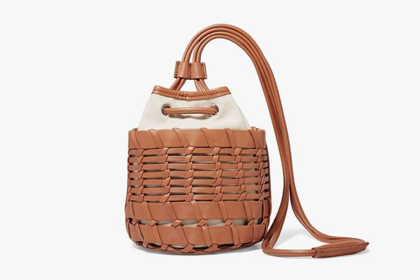 Hereu + NET SUSTAINSiana Leather and Organic Cotton-Canvas Bucket Bag