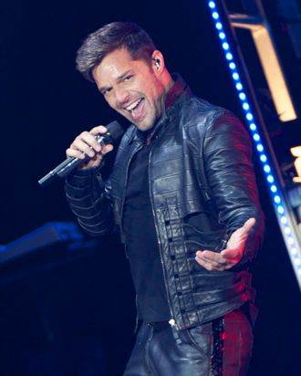 MADRID, SPAIN - JUNE 28: Ricky Martin performs on stage at Palacio de los Deportes on June 28, 2011 in Madrid, Spain. (Photo by Carlos Alvarez/Getty Images)
