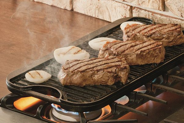 "Lodge Pro-Grid Cast-Iron Grill and Griddle Combo. Reversible 20 x 10.44"" Grill/Griddle Pan With Easy-Grip Handles"