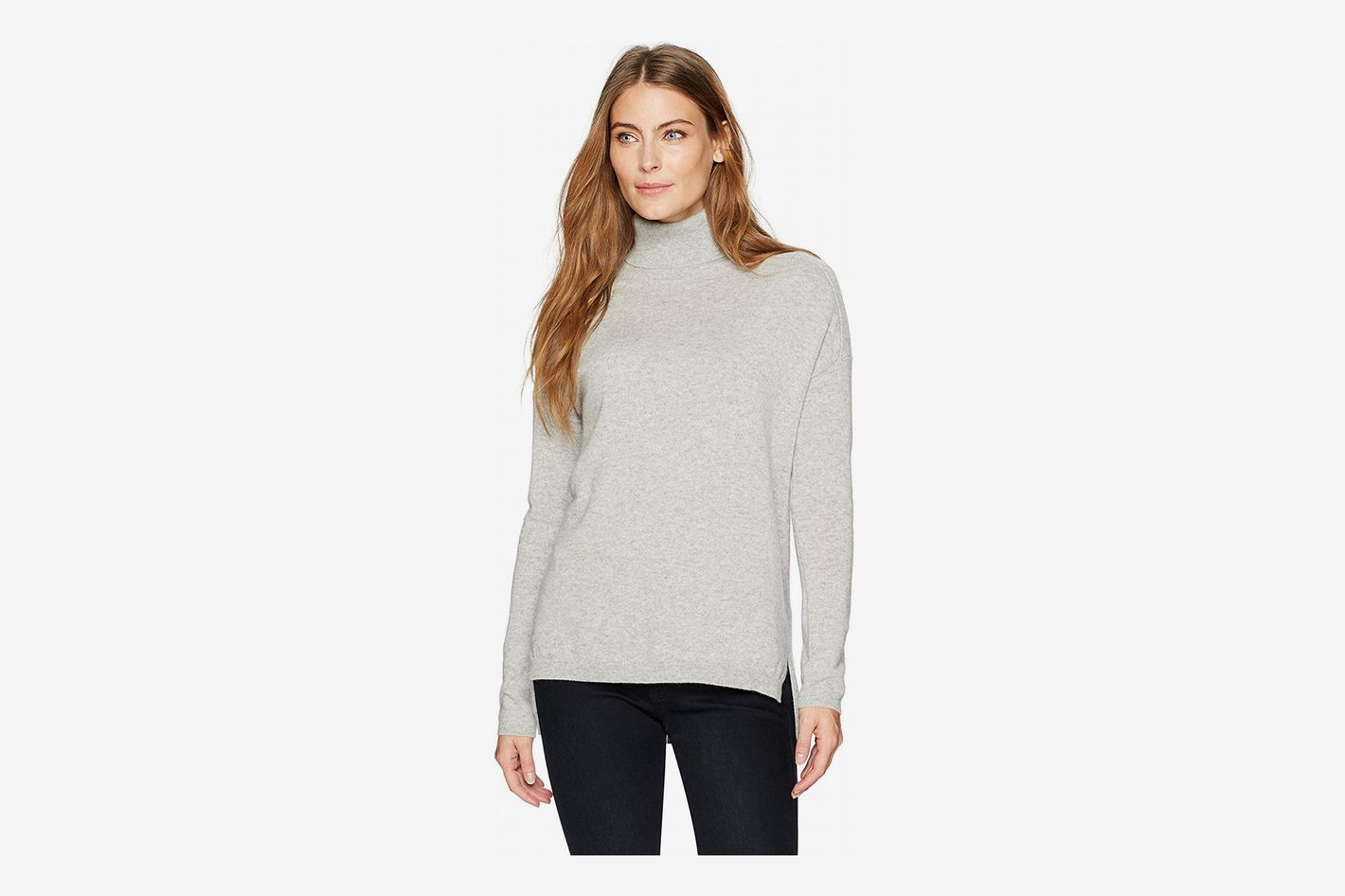 Lark & Ro Cashmere Slouchy Turtleneck Sweater