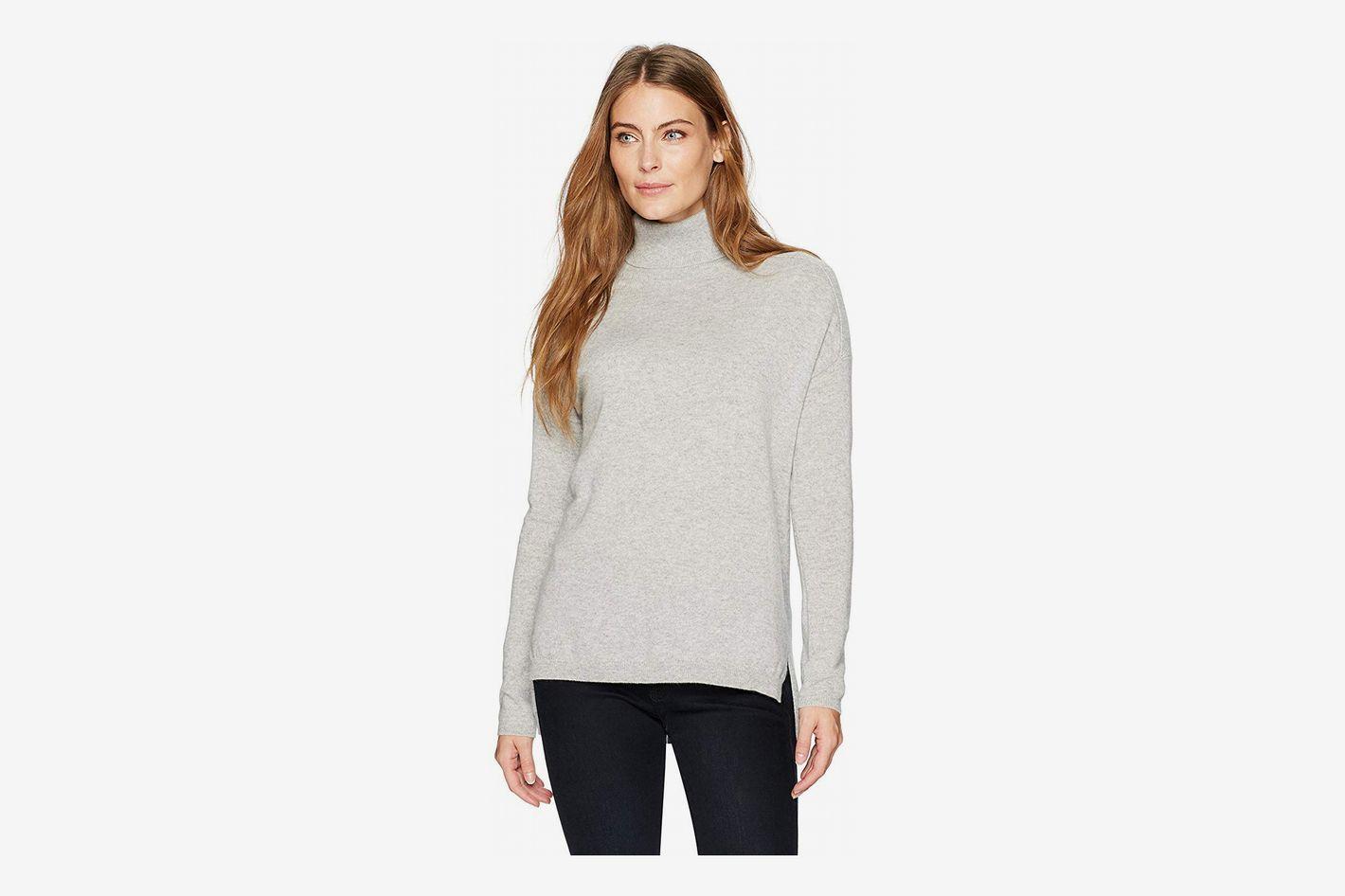 Lark & Ro Women's 100% Cashmere Soft Slouchy Turtleneck Pullover Sweater