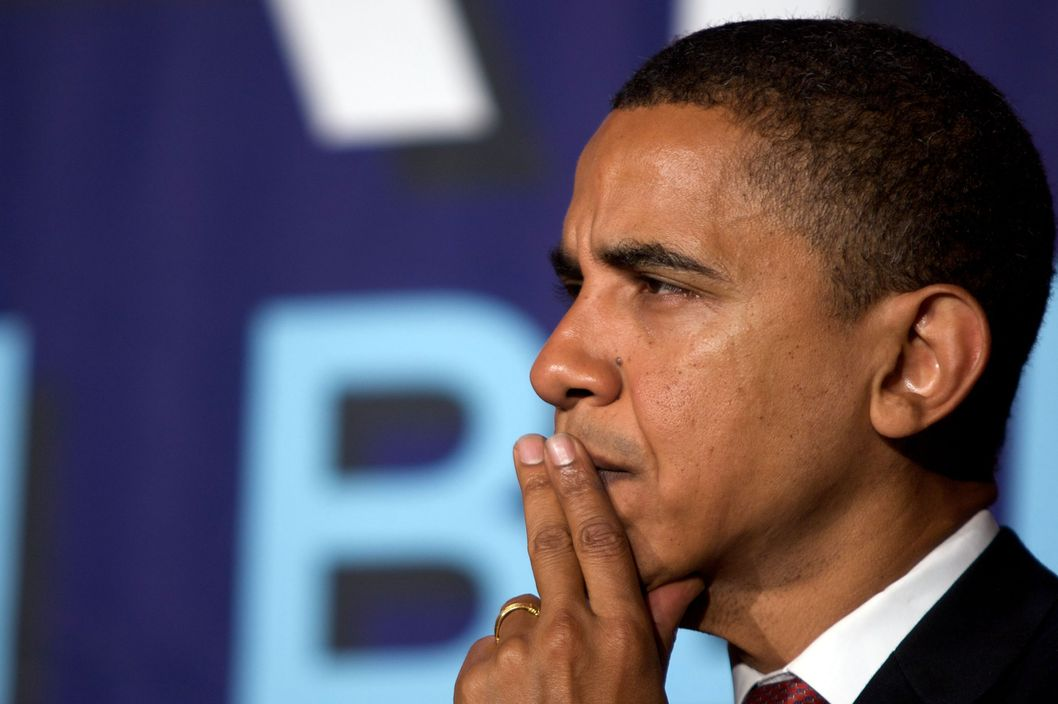 Barack Obama, U.S. senator from Illinois and Democratic presidential candidate looks during a fund raiser event at the Hilton Towers hotel on Thursday, July  10, 2008 in New York, U.S. Photographer: Jin Lee/Bloomberg News