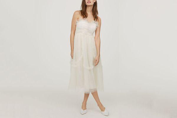 Ruffle Trim Mesh Dress