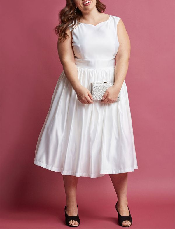 Fabulous Fit and Flare Dress with Pockets in White