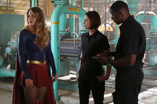 """Stronger Together"" -- When Kara\'s attempts to help National City don\'t go according to plan, she must put aside the doubts that she -- and the city\'s media -- has about her abilities in order to capture an escapee from the Kryptonian prison, Fort Rozz, when SUPERGIRL moves to its regular time period, Monday, Nov. 2 (8:00-9:00 PM, ET/PT) on the CBS Television Network. Pictured left to right: Melissa Benoist, Chyler Leigh and David Harewood  Photo: Cliff Lipson/CBS  ©2015 CBS Broadcasting, Inc. All Rights Reserved"