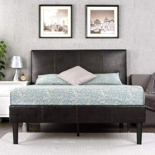 Zinus Gerard Deluxe Faux Leather Upholstered Platform Bed with Wooden Slats, Queen