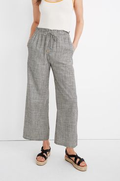 Madewell Smocked Huston Pull-On Pants in Mini Check