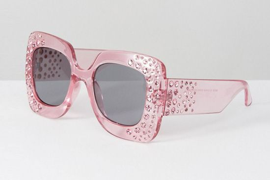 Oversized Square Embellished Sunglasses