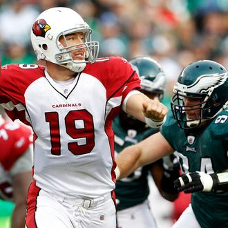 PHILADELPHIA, PA - NOVEMBER 13: John Skelton #19 of the Arizona Cardinals looks to pass as Derek Landri #94 of the Philadelphia Eagles icloses in for a sack during a game at Lincoln Financial Field on November 13, 2011 in Philadelphia, Pennsylvania. The Cardinals defeated the Eagles 21-17. (Photo by Rich Schultz /Getty Images)