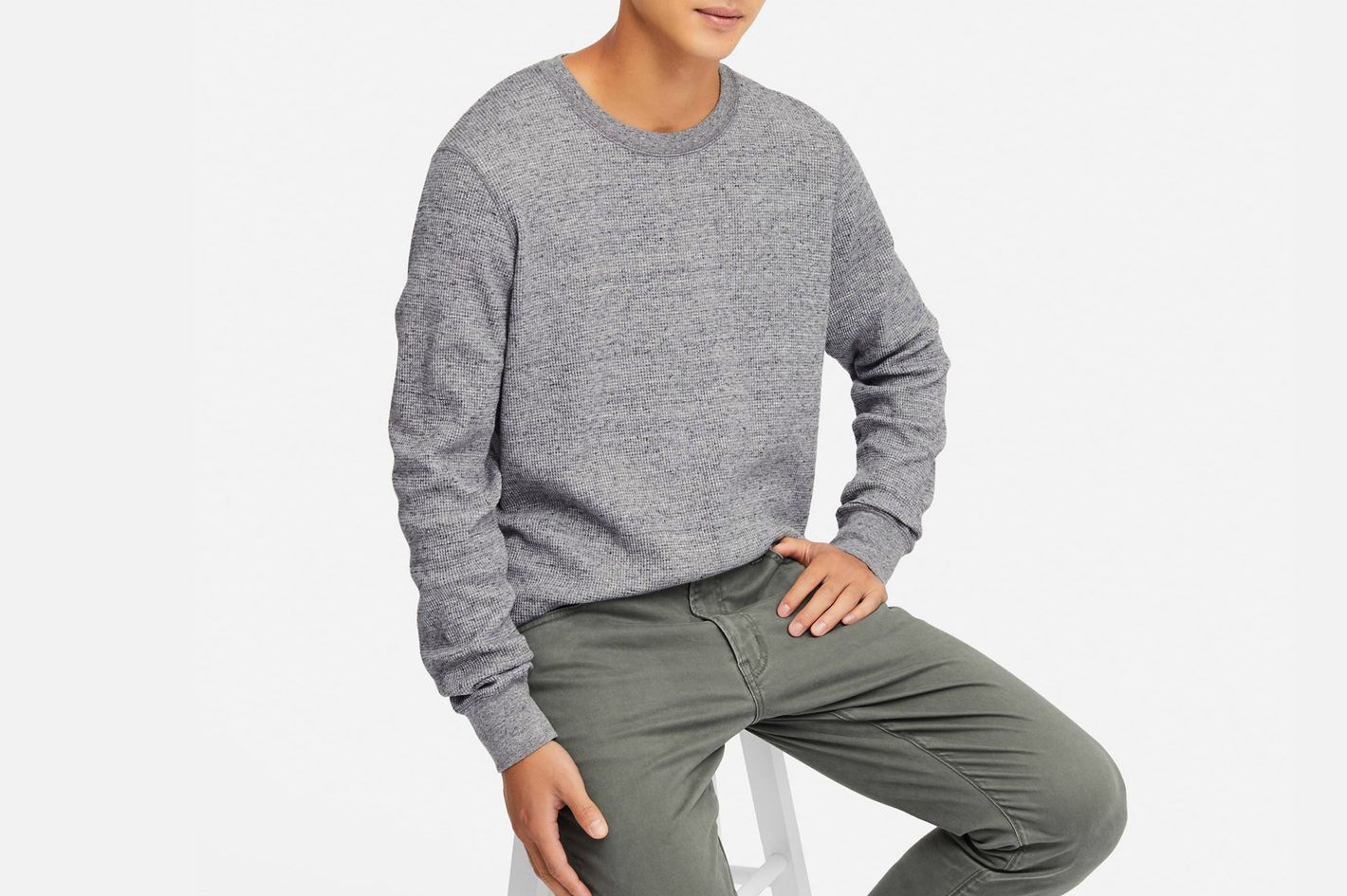 Uniqlo Men's Long Sleeve Waffle Crew, Gray