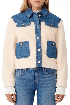 Maje Bamia Denim Trim Faux Fur Jacket