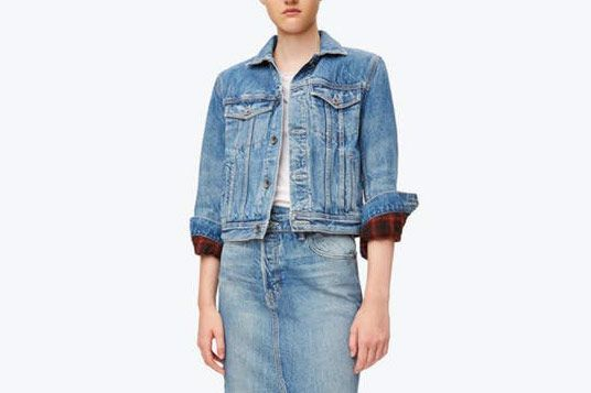 Helmut Lang Plaid Lined Denim Jacket