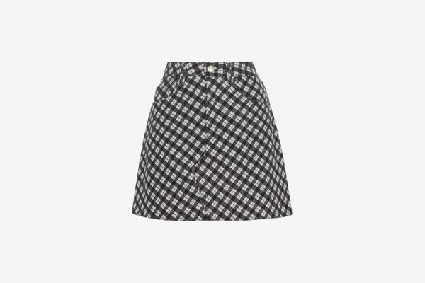 ALEXACHUNG Checkered Cotton-Blend Mini-Skirt