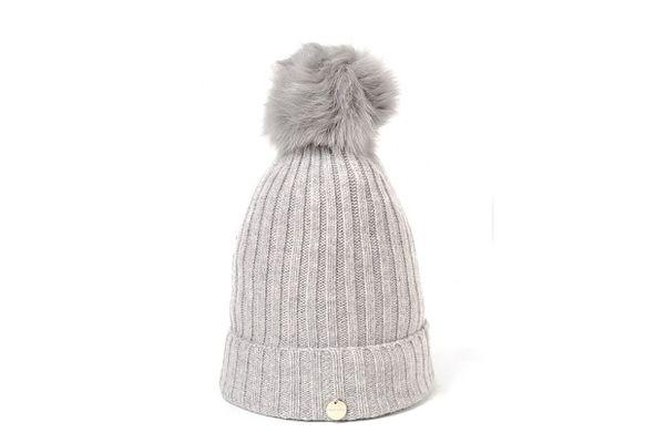 Yves Salomon Gray Fur Pom Pom Hat