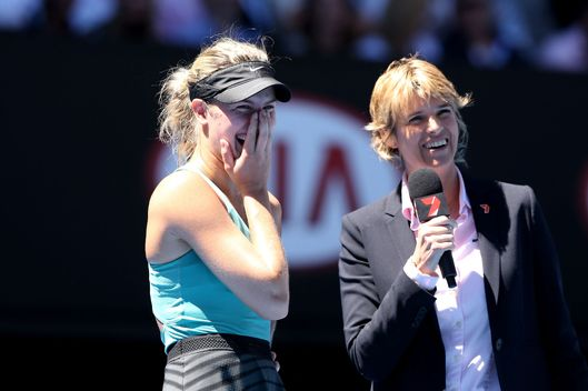 Eugenie Bouchard of Canada is interviewed on court after winning her quarterfinal match against Ana Ivanovic of Serbia during day nine of the 2014 Australian Open at Melbourne Park on January 21, 2014 in Melbourne, Australia.