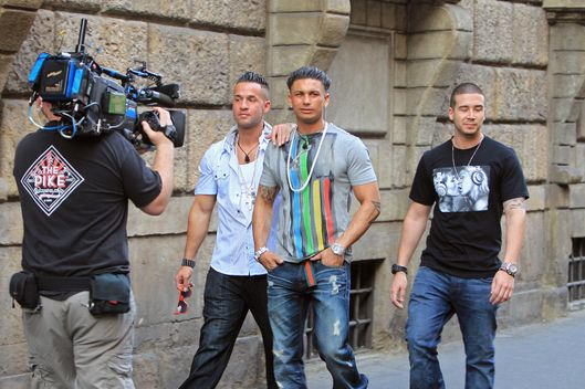 "'Jersey Shore' stars Mike ""The Situation"", Vinny and Pauly D head out for dinner in Florence, Italy."