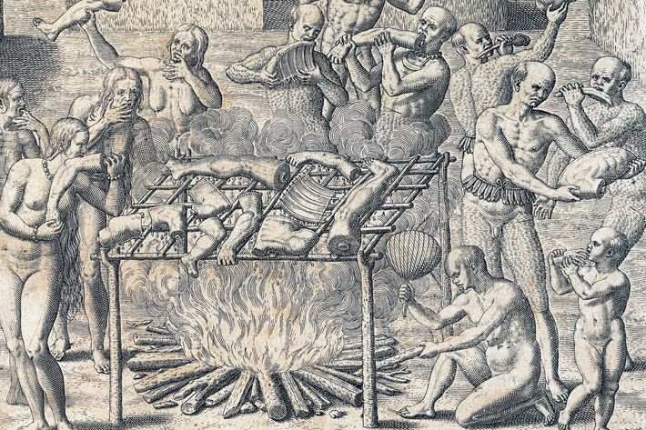 GERMANY - CIRCA 2003: Cannibalism of the tribes in the interior of Brazil, engraving from American History by Theodore de Bry (1528-1598), Frankfurt, 1602. South America, 16th century. Venice, Biblioteca Nazionale Marciana (National Library) (Photo by DeAgostini/Getty Images)