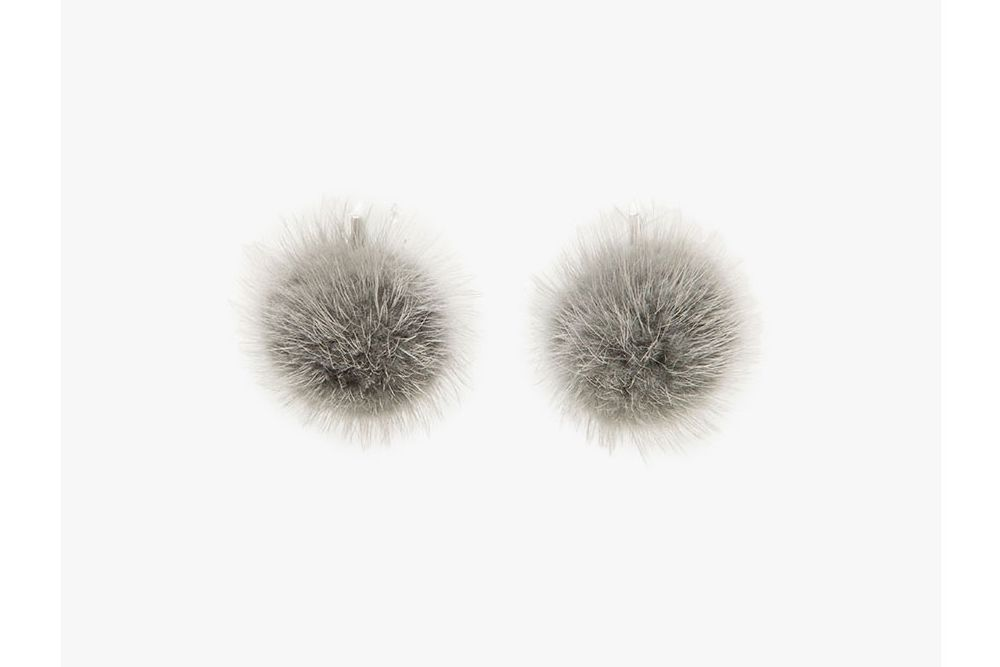 Tuleste Mink Pom Pom Earrings in Grey