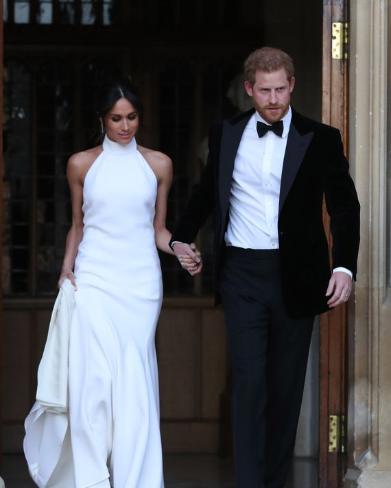 Meghan Markle and Prince Harry en route to their private royal wedding reception.