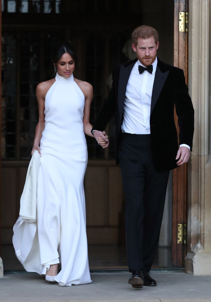 Meghan Markle and Prince Harry en route to their wedding reception.