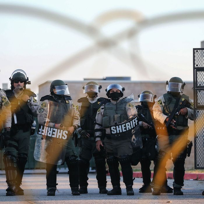 L.A. County Sheriff's deputies in riot gear.