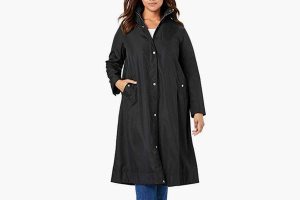 Woman Within Water Repellent Long Raincoat