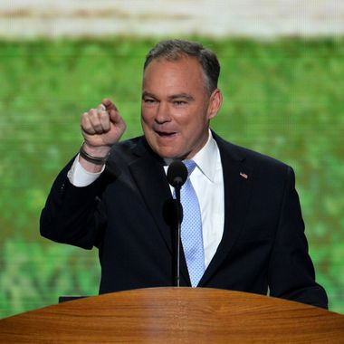 Former Virginia Governor Tim Kaine makes a point during his speech at the Time Warner Cable Arena in Charlotte, North Carolina, on September 4, 2012 on the first day of the Democratic National Convention (DNC). The DNC is expected to nominate US President Barack Obama to run for a second term as president.