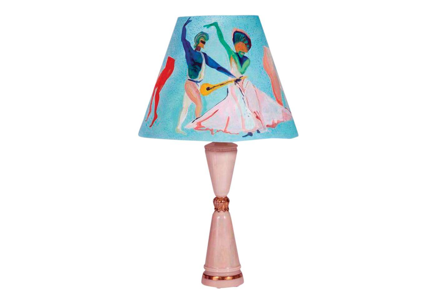 "Voutsa x Sasha Bikoff 1970s iridescent table lamps with custom Voutsa ""Ballets  Russes"" shades"