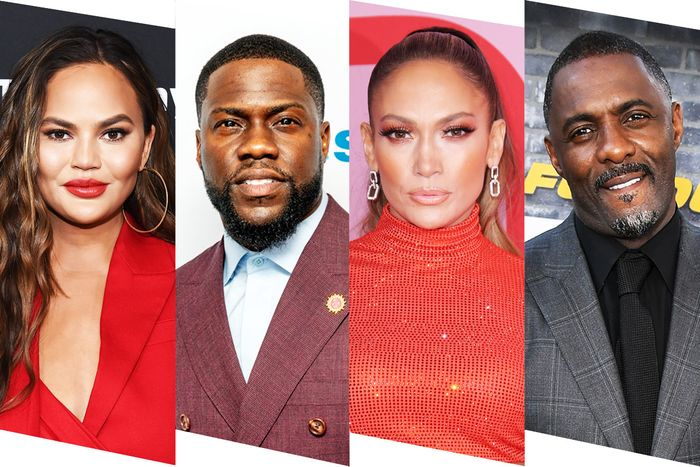 Chrissy Tiegen, Kevin Hart, Jennifer Lopez, and Idris Elba.