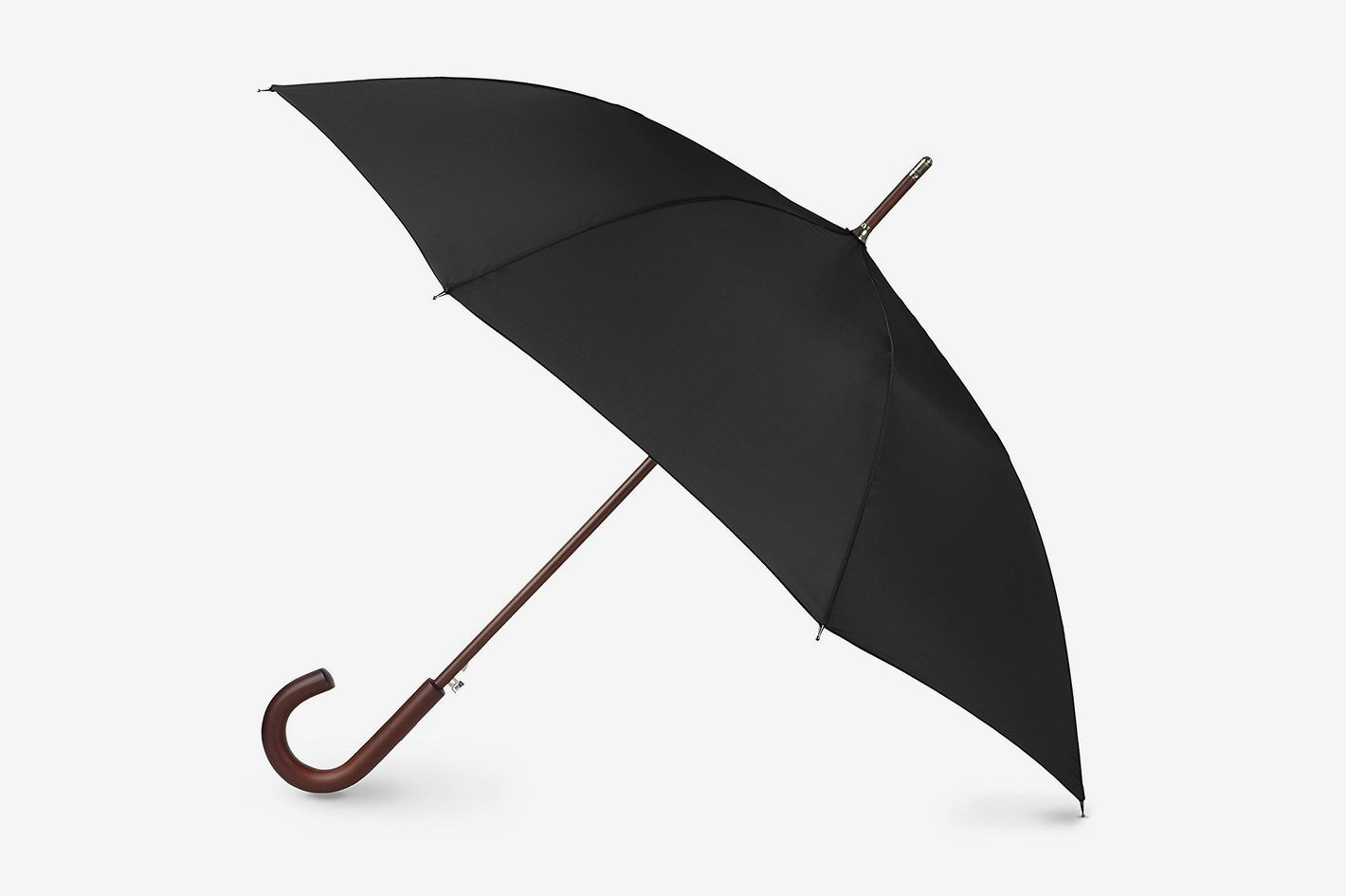 Totes Auto Open Wooden Stick Umbrella Black One Size