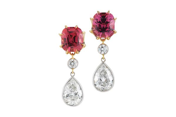 Padparadscha sapphire and diamond drop