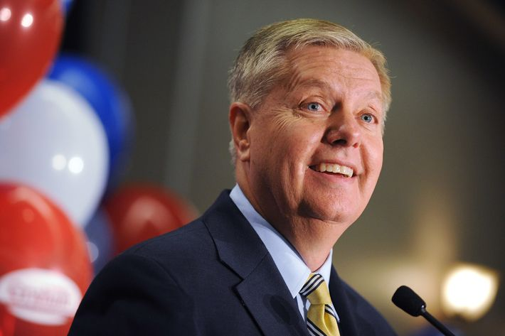 Sen. Lindsey Graham, R-S.C., speaks to supporters after winning the Republican primary, Tuesday, June 10, 2014, in Columbia, S.C. Graham defeated six tea party challengers and avoided a runoff.