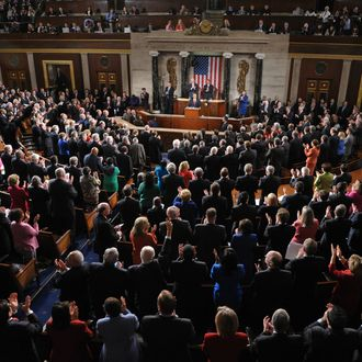US President Barack Obama receives applause as he delivers his State of the Union address before a joint session of Congress January 24, 2012 on Capitol Hill in Washington, DC.