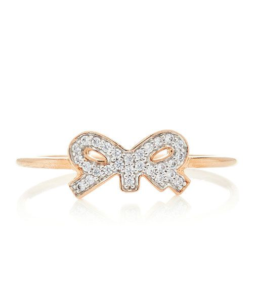 Ginette NY Tiny Diamond 18K Rose Gold Ring