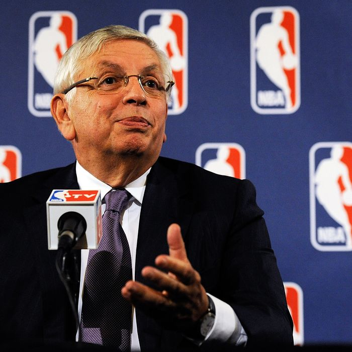 NEW YORK, NY - OCTOBER 04: NBA Commissioner David Stern speaks at a press conference after NBA labor negotiations at The Westin Times Square on October 4, 2011 in New York City. Stern announced the NBA has canceled the remainder of the preseason and will cancel the first two weeks of the regular season if there is no labor agreement by Monday. (Photo by Patrick McDermott/Getty Images)